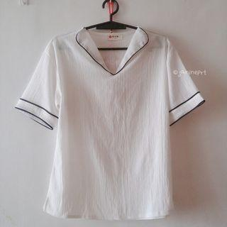 Taiwan White Collared Top with Outline