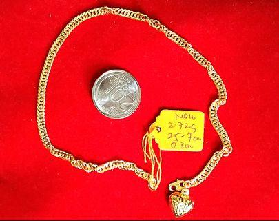 Real 916 gold chainlink ankle bracelet with 1 fat love pandent