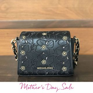 ff57b56b596 MICHAEL KORS Black Sofia Floral Studded Crossbody Sling Bag