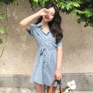 🚚 Stripe Dress light blue