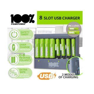 🚚 100% Peak Power USB Battery Charger With 4 X AA 4 X AAA Gift Box Set