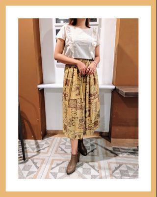 Preloved bawahan rok rumbai vintage motif bohemian boho etnik wanita cewek murah korean kasual kondangan
