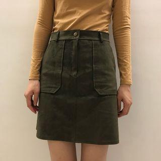 🚚 韓國絨皮高腰A字裙