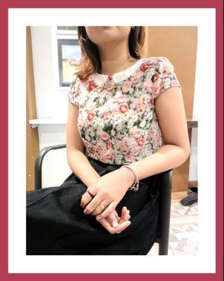 Preloved baju atasana kemeja blouse top wanita cewek murah floral flower bunga2 bohemiam boho korean