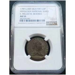 1789年英國I/2便士鍍銀銅幣