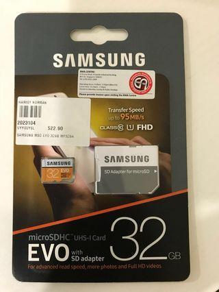 🚚 Samsung 32GB microSDHC UHS-I Card