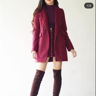 Maroon double breasted wool coat