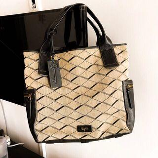 Tas Tote Bag Fossil Emerson Satchel Grey/Black ORIGINAL (bisa nego)