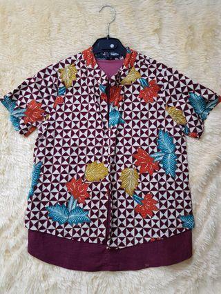 Kemeja blouse Batik Solo. 2 layer. Baju kerja