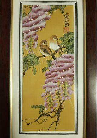 Vintage Handpainted Chinese Lovebirds Original Painting with frame