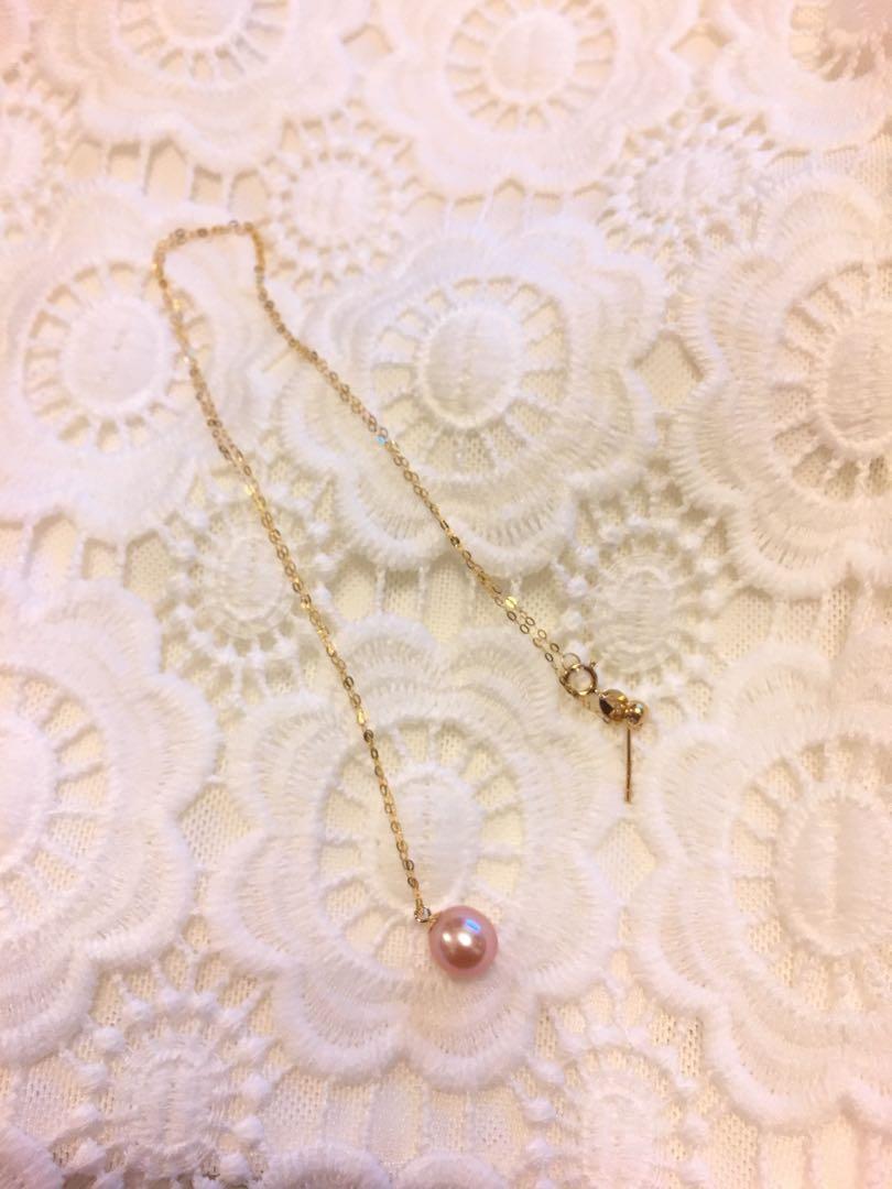 18k pearl necklace 18k 粉色珍珠頸鏈