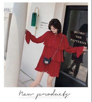 🚚 韓版紅色雪紡喇叭袖短款蛋糕裙洋裝