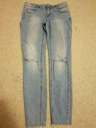 Blue Wash Ripped Jeans: Size 12