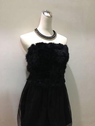 正韓 兔毛平口洋裝#半價衣服拍賣會