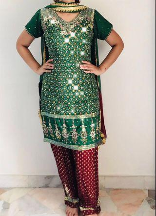 Punjabi suit (dark green + maroon)
