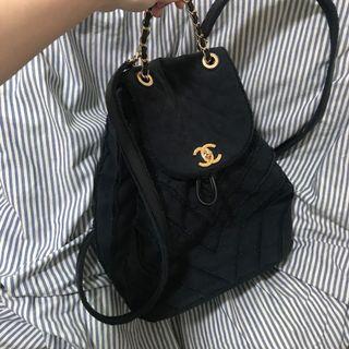 Chanel 山型紋 帆布 黑色後背包