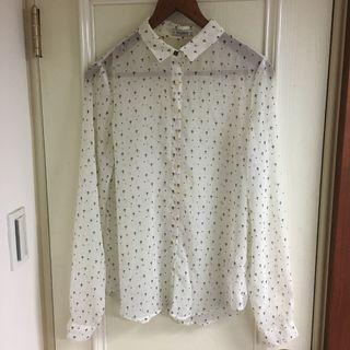 PULL&BEAR 十字圖案雪紡襯衫上衣