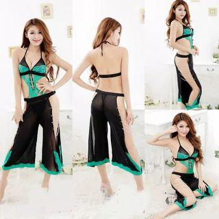 Green in dark lingerie suits divya-pants, neck strap+dark g-string
