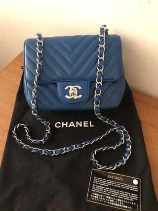 Chanel Mini square chevron blue caviar shw#24