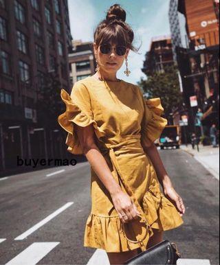 Mustard Color Knee Length Dress