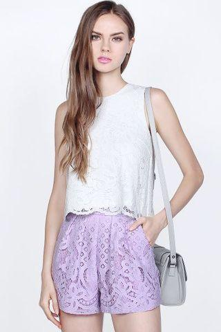 Fayth Hayley Lace Top in White - Size XS