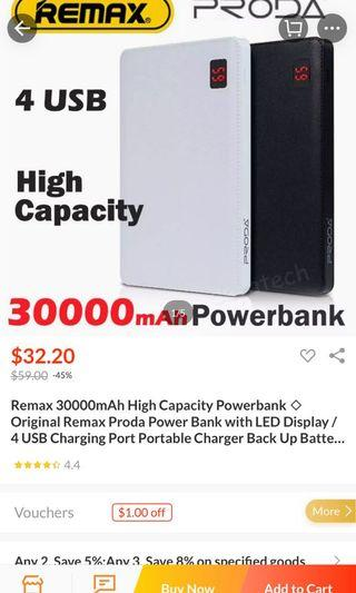 🚚 30000Mah Remax Powerbank