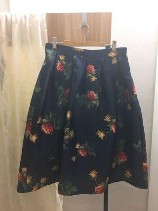 A-Line Flare Floral Skirt (M Size)