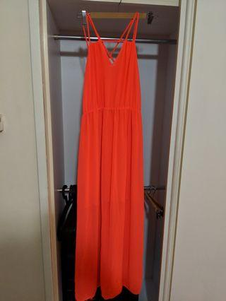 🚚 Neon Cocktail/Party Long Dress