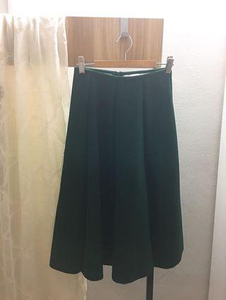 Emerald Green A-Line Flared Skirt (M size)