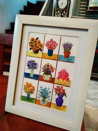 9 Flowers Watercolor Painting with Frame