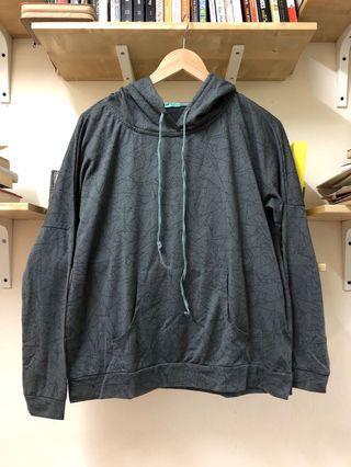 Geometric-print grey hoodie