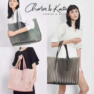 AUTHENTIC CHARLES & KEITH TRANSLUCENT LANDSCAPE TOTE BAG CK2-30780792