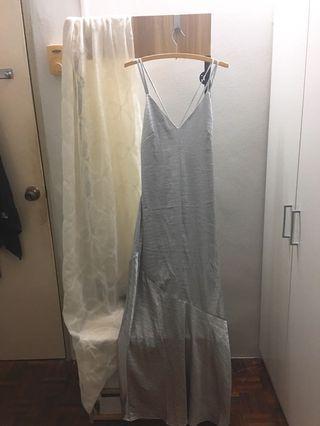 New Sexy Back Evening Silver Metallic Long Dress