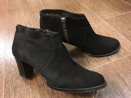 Made-in-Japan black suede booties