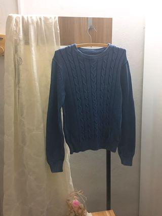 Blue Knitted Long Sleeves Top