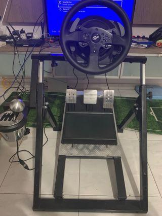 Next level racing stand with T300RS GT racing wheels with wide pedals set