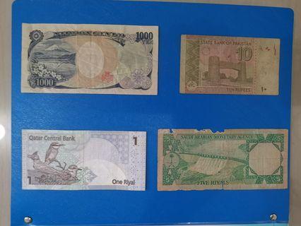 Nippon ginko 100 yen, pakistan 10 rupees, qatar central bank 1 riyal, saudi arabian 5 riyal duit lama #OYOHOTEL