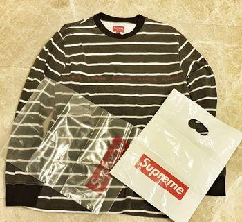 AUTHENTIC SUPREME MENS M Dark Grey STRIPED SWEATER Hype