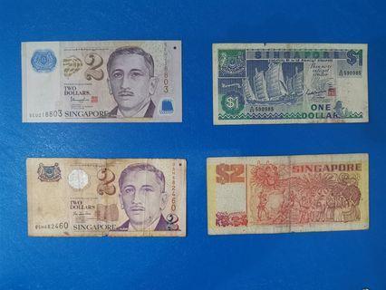 Singapore $1, $2, $10 Duit Lama old notes #OYOHOTEL