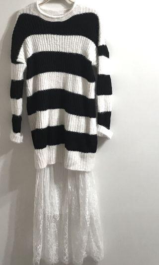 條紋針織衣