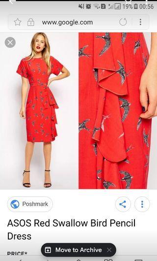 Asos petite nwt red swallow print waterfall ol dress pencil skirt