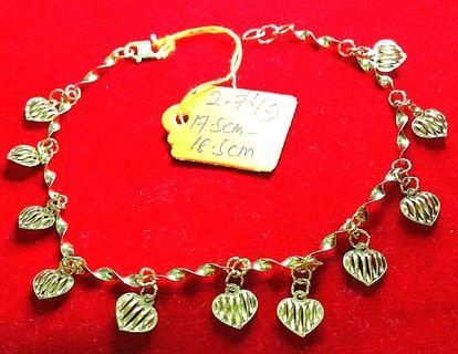 Real 916 gold twist chainlink bracelet with 11 small nets love pendant