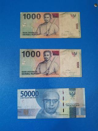 Indonesia 1000 rupiah, 50000 rupiah duit lama old notes #OYOHOTEL