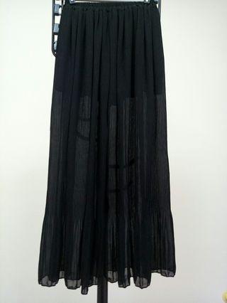 超美透紗黑寬褲