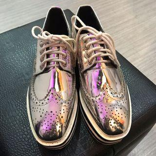 🚚 金屬面厚底牛津鞋