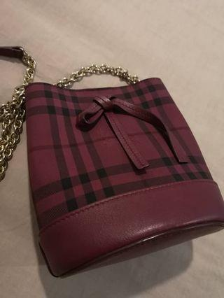Burberry Maroon Mini Horseferry Leather Bucket