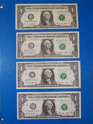 USA 1 Dollar, 5 dollar Duit lama old notes #OYOHOTEL