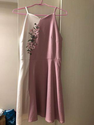 NEONMELLO NM FLORAL COLOURBLOCK HALTER NECK DRESS