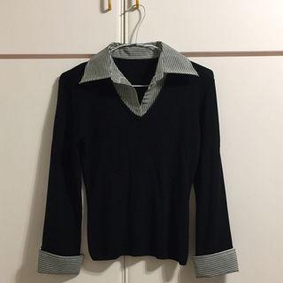 黑色  黑白條紋 襯衫 針織衫 袖口反折爲設計感 少女 上班族 適S-M