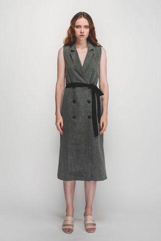 Klarra V-Neck Lapel Vest Dress